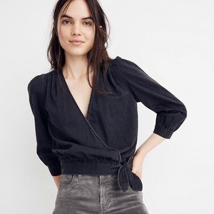 NWT Madewell Wrap Top in Black Denim